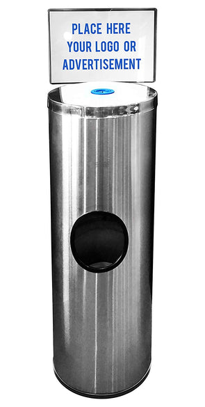 Germisept Stainless Steel Wipes Dispenser with High Capacity Built-in Trash Can and Back Door Access