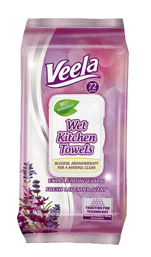 Veela Table Bussers- Biodegradable Table Turner Wet Wipes - 72 Wipes Per Pack