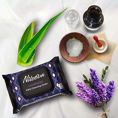 Nileeva Visage Collection Daily Cleansing Cloths & Wipes - 25 Wipers Per Pack