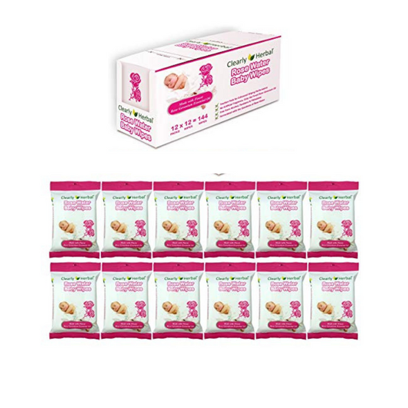 Clearly Herbal All Natural Rose Water Baby Wipes
