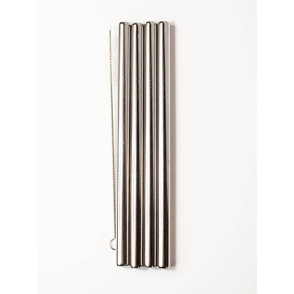 Extra-Wide Stainless Steel 4-Piece Smoothie Straws with Wheat Box - Blossom Bottles