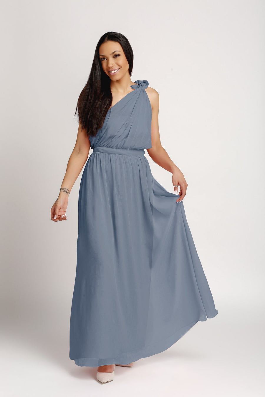 Bridesmaid Dresses - One Shoulder Floor Length Chiffon Bridesmaid Dress - BridesMade