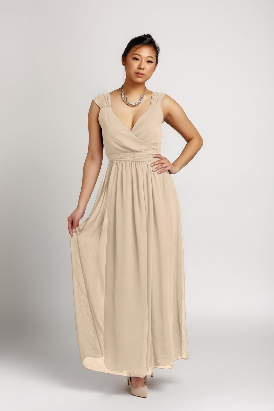 Bridesmaid Dresses - Wrap Floor Length Chiffon Bridesmaid Dress - BridesMade