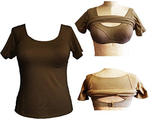 Alessandra B Short Sleeve Cotton Crew Neck Tee with Underwire Bra - M3046
