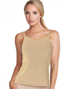 Alessandra B Lace Trim High Neck Camisole with Underwire Bra