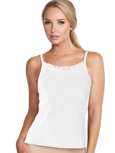 Alessandra B Lace Trim High Neck Cotton Camisole with Underwire Bra - M3136
