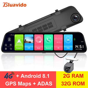 "12"" Rearview mirror 4G Android 8.1 dash camera"
