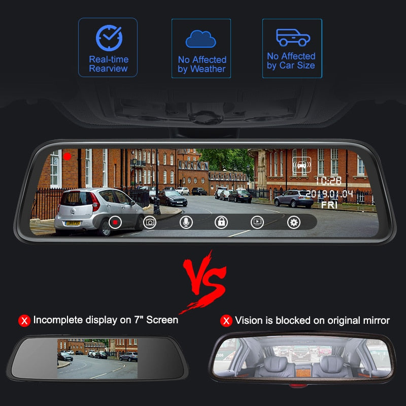 Touch Screen Car Dash Cam&Back Camera 1080P Dual Lens 10'' IPS