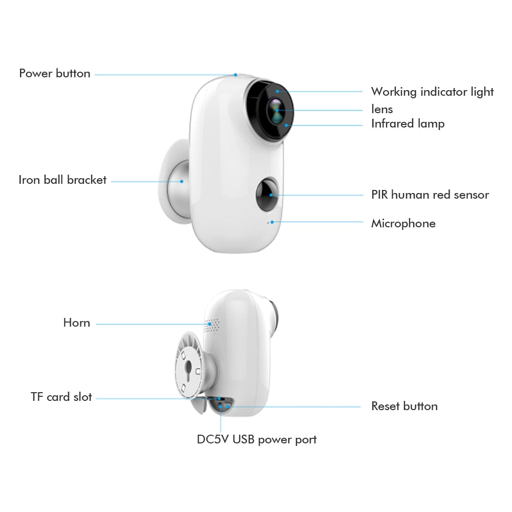 Wire-Free Rechargeable Battery IP Wifi Camera 720P