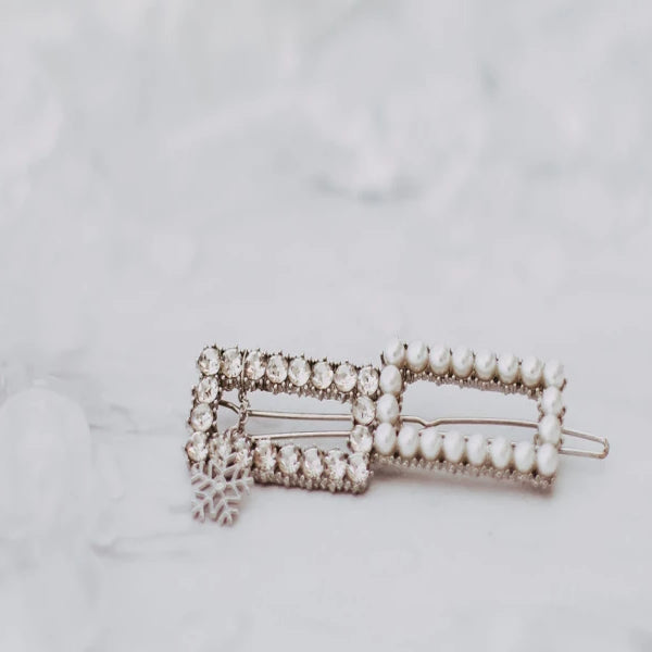 Double square hair pin with Snow