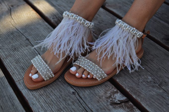 wedding sandals, pearl sandals, feathers, beach wedding