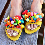 women colorful sandals, slides for women, women's slide sandals