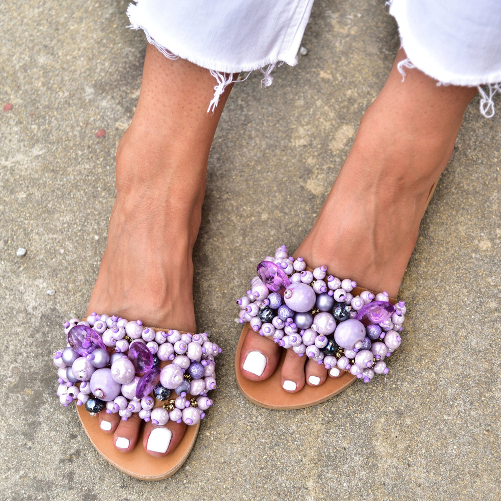 wedding sandals purple