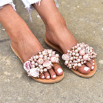 elina linardaki sandals, shell sandals, leather sandals