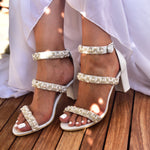 wedding shoes, pearl sandals