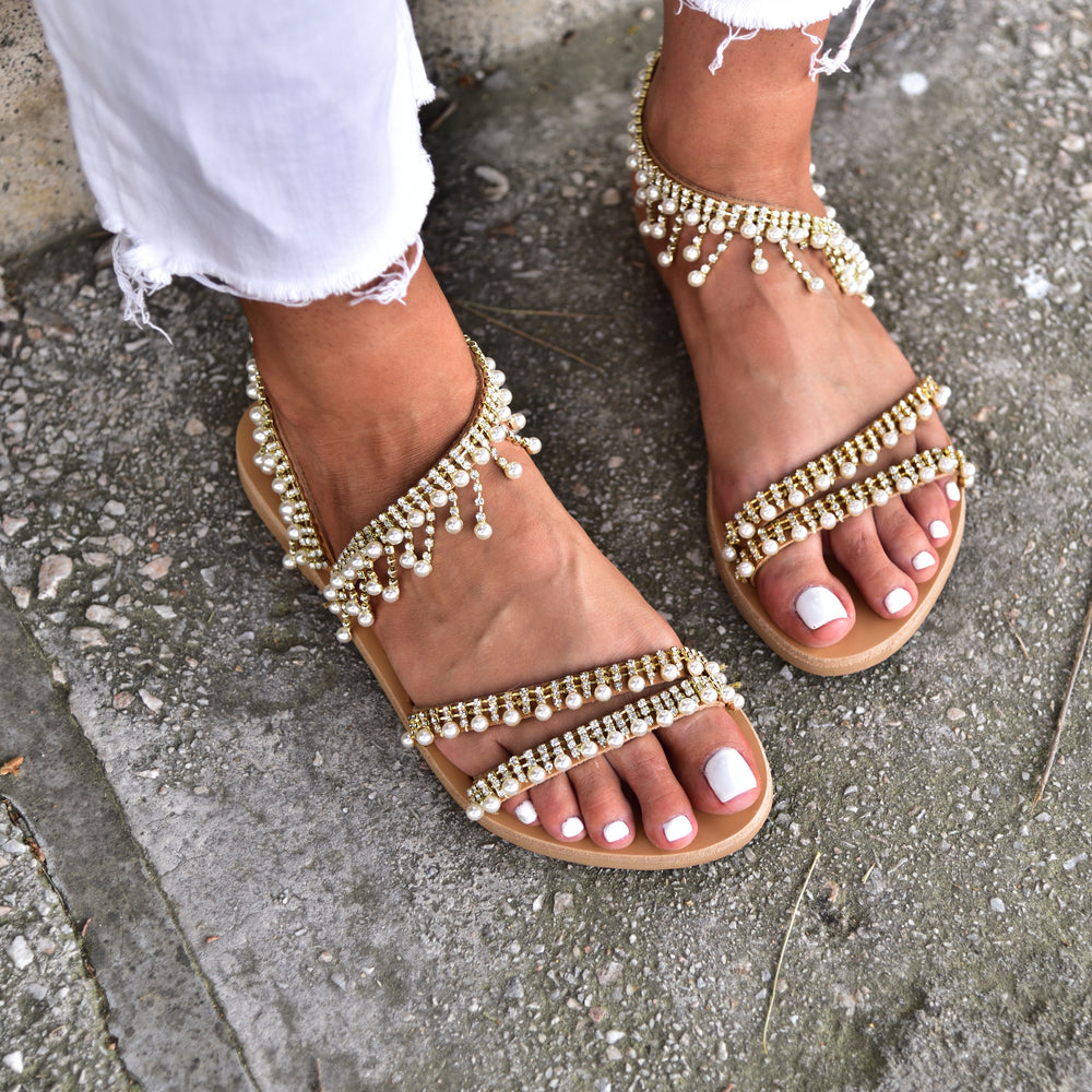 wedding sandals, pearl sandals