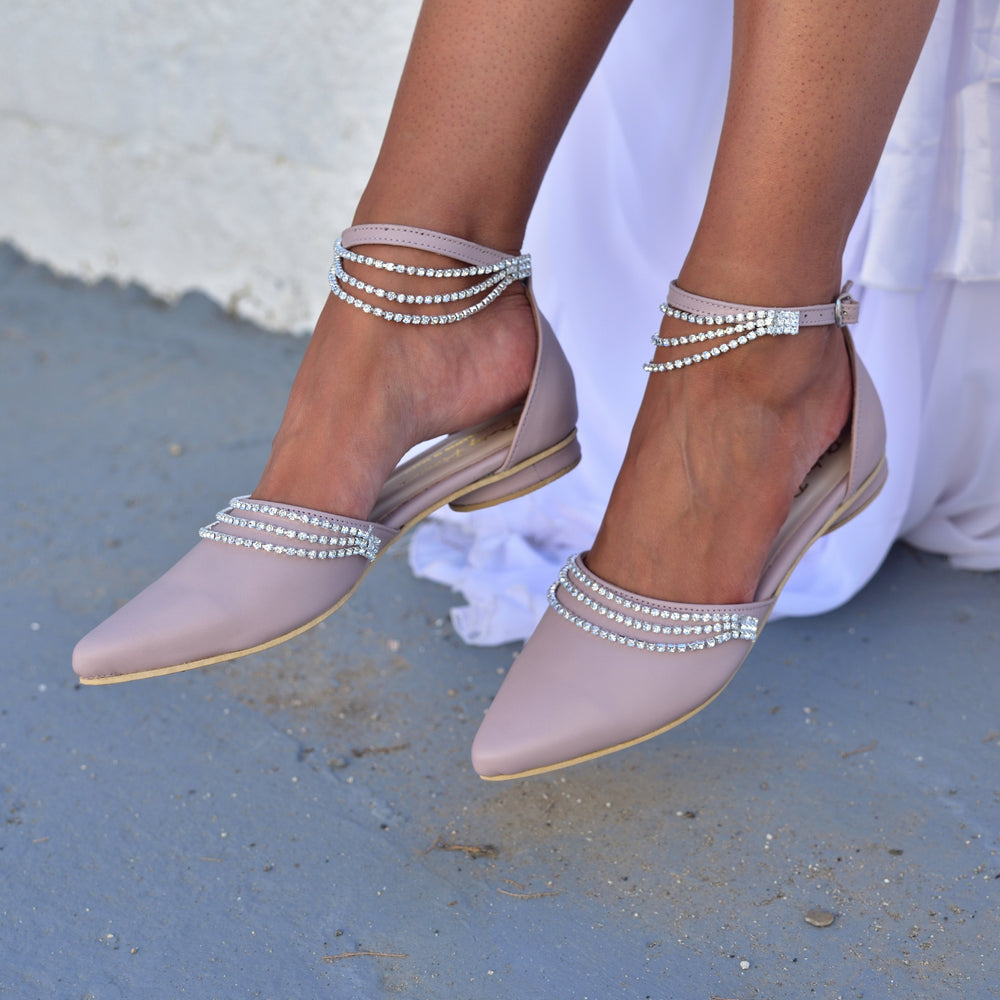 Bridal Flats, Nude Wedding Shoes, Pointed Toe Mules