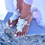 White Flat wedding sandals