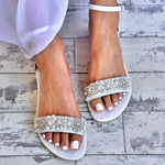 wedding sandals - bridal sandals - white bridal sandals