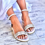 wedding shoes - Greek sandals - pearl sandals