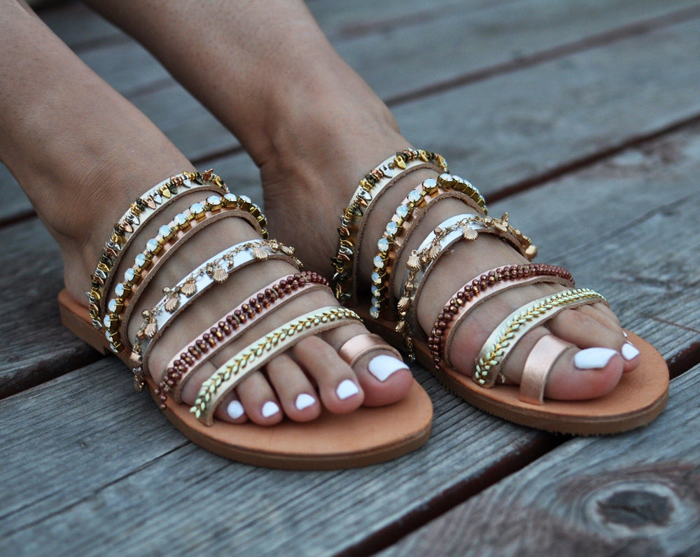 Cleopatra leather sandals, wedding leather shoes, flat wedding shoes
