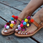 pom pom sandals, boho sandals, bohemian sandals, fashion summer shoes