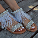 bridal sandals - sandals with feathers