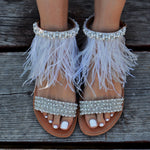 sandals decorated with pearls