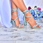 wedding shoes - blue sandals - blue block heel wedding sandals