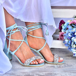 block heel wedding sandals - blue wedding sandals - blue sandals
