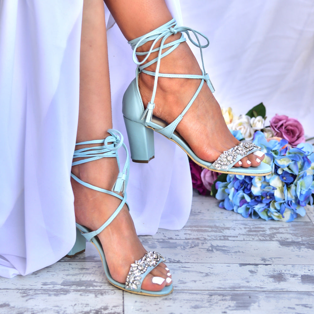 blue shoes - bridesmaids sandals - bridal sandals