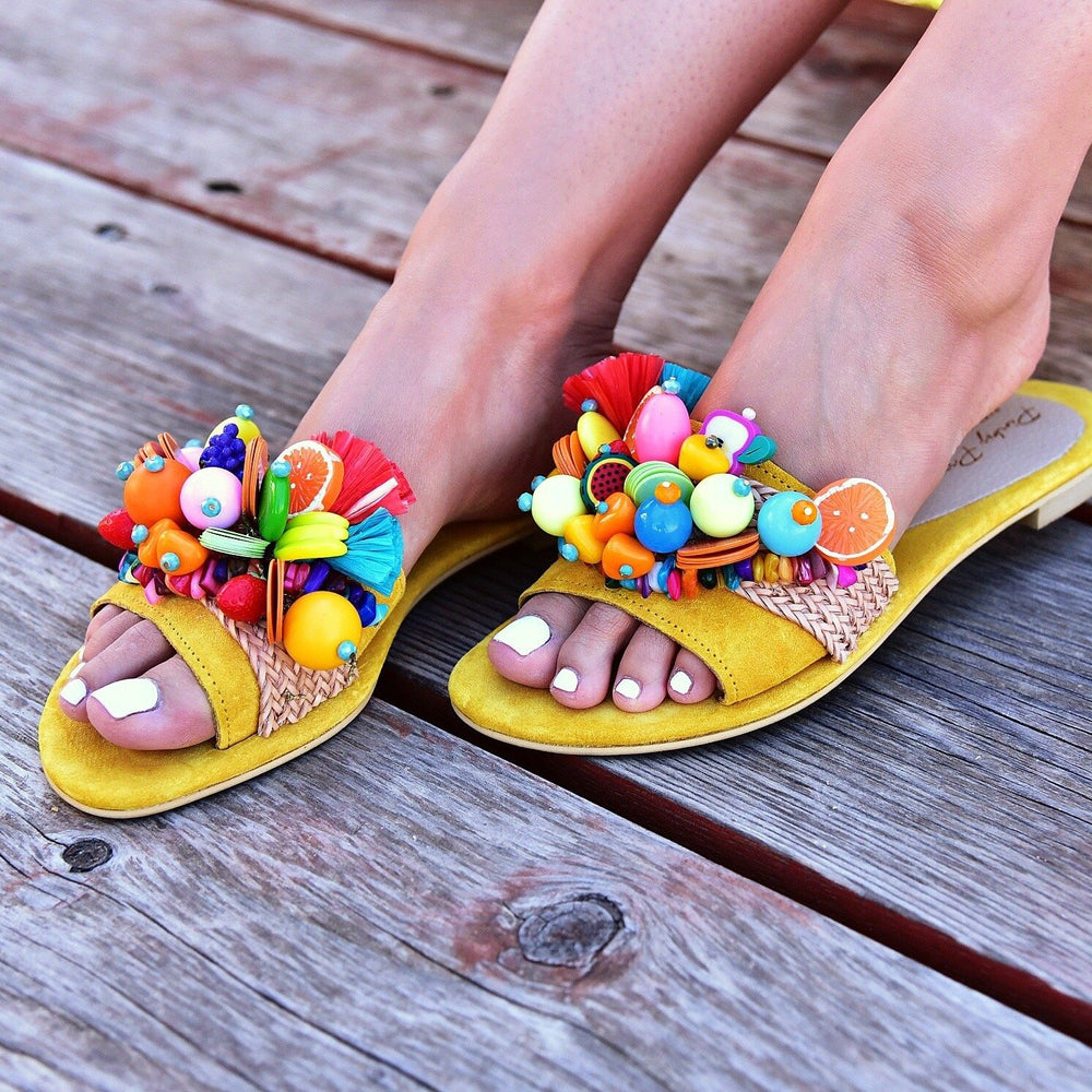 slides for women, leather slides yellow