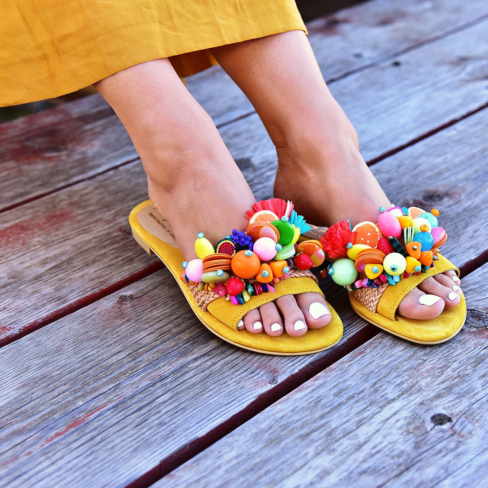 leather bohemian sandals, sandals with fruits