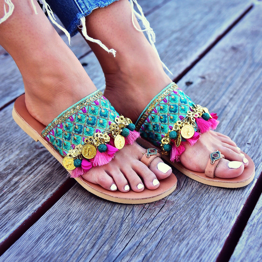 Bohemian leather colorful sandals,  sandals made in greece, handmade greek sandals