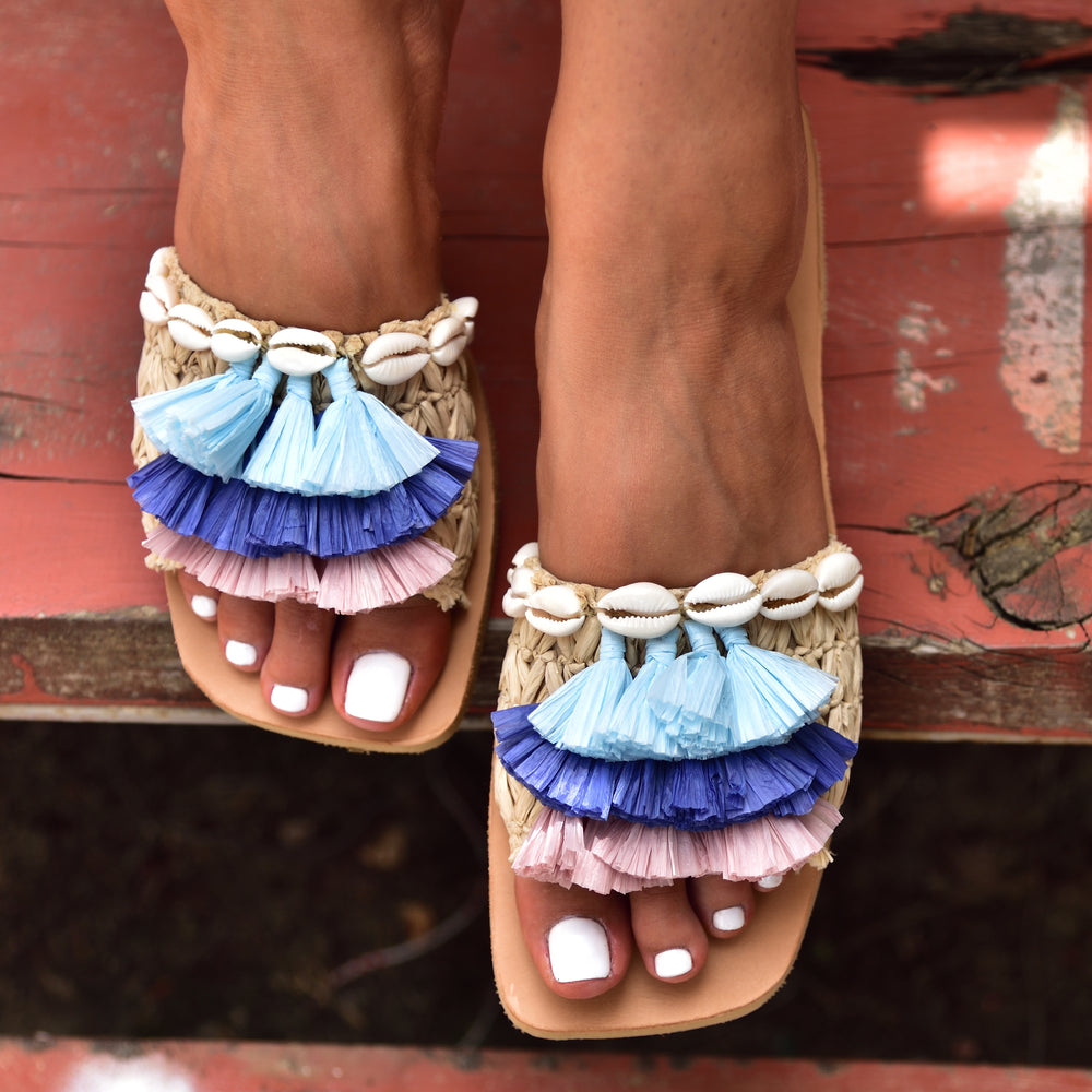 shell sandals, sandals with tassels,shoe trends summer 2020