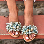 boho leather sandals in turquoise