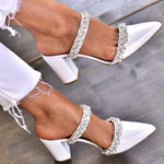White Pointed Toe Heels, White Mules, Jeweled Heels