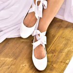 bridal shoes,  wedding shoes with ribbons