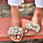 sandals with pearls, handmade sandals