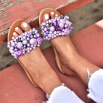 purple sandals, leather sandals, bohemian sandals with lilac beads