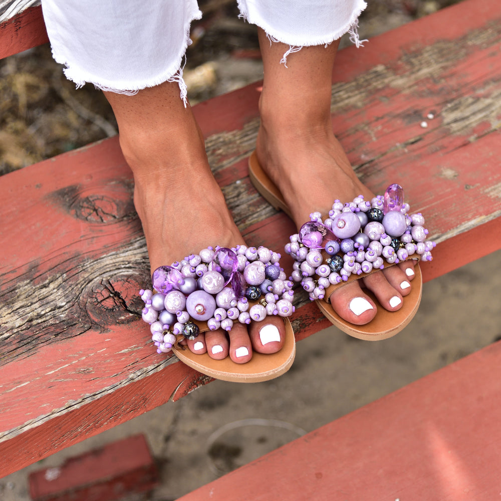 purple sandals, wedding sandals, elina linardaki sandals
