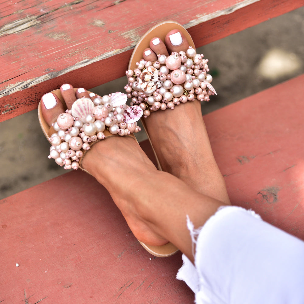 sandals for women, pearl sandals pink