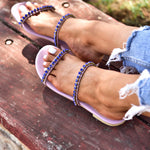leather sandals purple