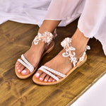 lace wedding sandals, bridal shoes
