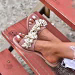 boho sandals with shells