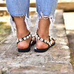 black leather sandals