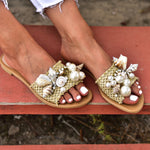 pearl sandals, sandals with shells, women sandals