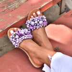 pearl sandals purple