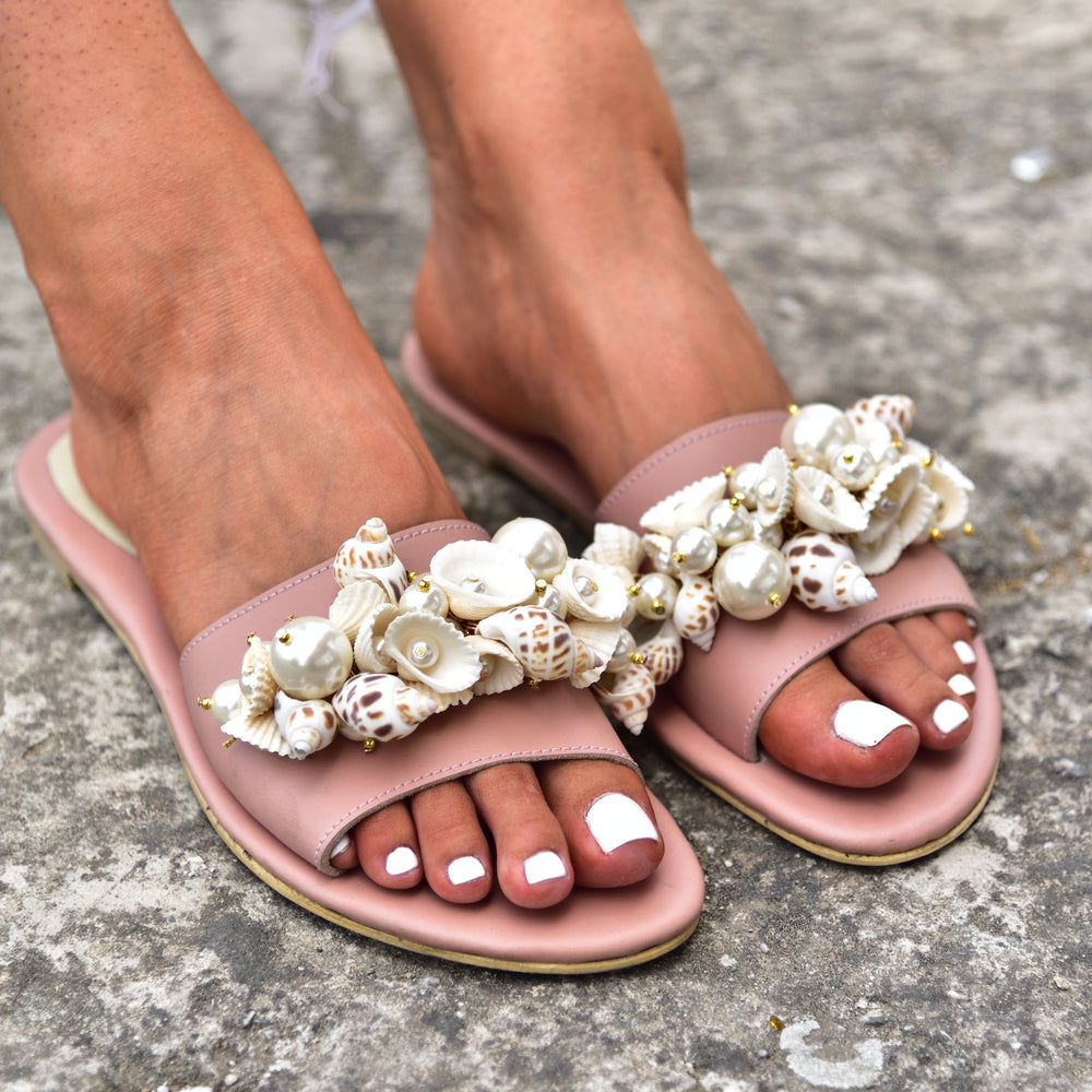sandals with shells, sandals for women
