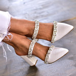 White Wedding Heels, Pointed Toe Mules
